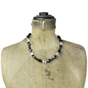 Black Glass Bead and Clear Bead Necklace
